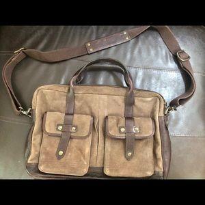 John Varvatos Bags - John Varvatos suede & leather messenger bag (men)